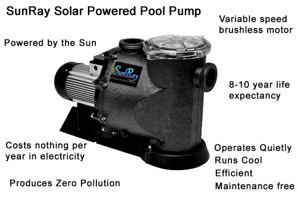 SunRay Solar Powered Pool Pump - variable speed brushless motor - zero pollution