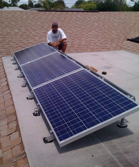 An Expertly installed SunRay Solar Module array roof installation